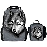 Showudesigns Felt Schoolbag Backpack Travel Daypack+Small Lunch Box Bag for Teenager Boys Cool Wolf Review