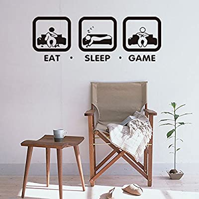"""Boodecal 36""""(w) x 13""""(h) Eat Sleep Game Wall Decal Gaming Wall Stickers Joystick Playing Wall Decals VInyl Decoration Wall Mural"""