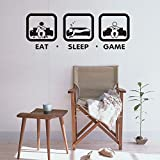 Boodecal 36''(w) x 13''(h) Eat Sleep Game Wall Decal Gaming Wall Stickers Joystick Playing Wall Decals VInyl Decoration Wall Mural