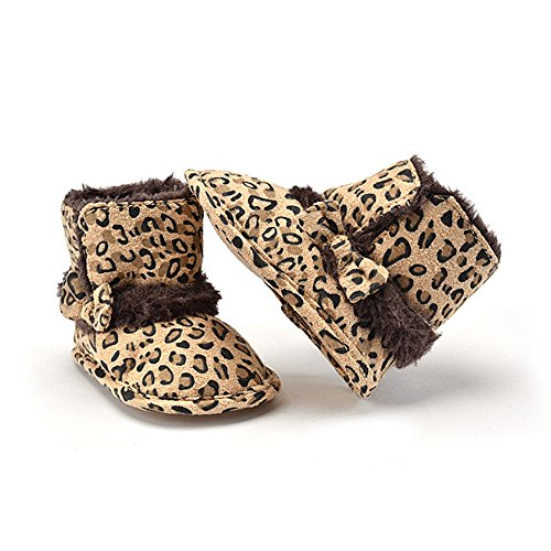 Warm Lovely Soft Sole Baby Girls Bowknot Leopard Snow Fur Boots Crib Shoes 3-12M (Snow Leopard Boots)