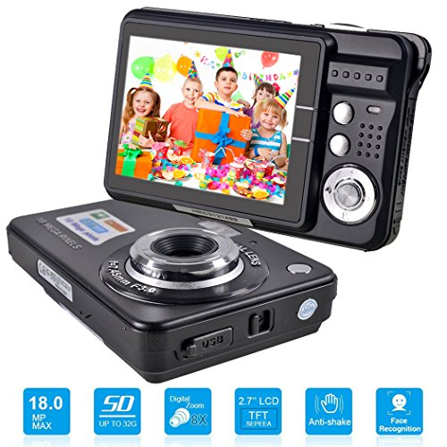 HD Mini Digital Camera with 2.7 Inch TFT LCD Display, Digital Video Camera (Black)- Sports, Travel, Outdoor, Camping, Birthday Gift