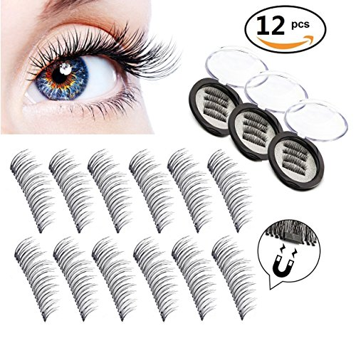 [Upgraded] RB Beauty Dual Magnetic Eyelashes Ultra Thin 0.25 mm 3D Fiber Reusable Best Fake Lashes For Women Makeup Natural Look (12 - Buy Rb