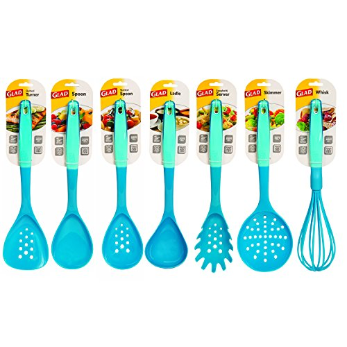 Glad Kitchen Cooking Utensil Set of 7 in Glossy Nylon up to 410° (Turquoise)
