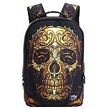 HANRUI Personalized 3D Skull Studded Casual Travel Laptop Backpack School Bookbags (Gold skull)