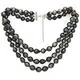 "Sterling Silver 3-Rows 8-10mm Black Baroque Tahitian Cultured Pearl Necklace, 16"" + 2"" Extender"