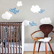 Kawaii Airplane Clouds Decal Vinyl Wall Sticker Wallpaper Mural Children's Kids Baby Room Bedroom Decorating 60x80cm Home Decor