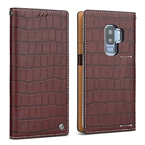 Galaxy S9 Plus Case, DesignSkin [PREMIUM CROCO]: [100% HANDMADE GENUINE LEATHER] Crocodile Pattern Flip Folio Wallet Unique Full Protective Card Holder Cash Storage Pockets Cover (Chocolate Brown)