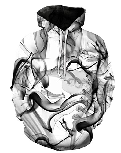Mens Smoke Jumper New (Doxi Unisex 3D Fashion Print New Trend Men Women Hoodies Sweatshirts Watercolor Dreamy Smoke Lines Thin Style Autumn Winter Hood Pullover)