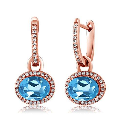 Gem Stone King 4.44 Ct Oval Swiss Blue Topaz 18K Rose Gold Plated Silver Earrings