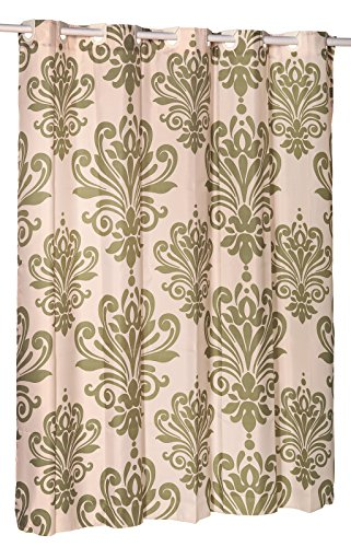 Beacon Hill Sage and Ivory EZ On Hookless Fabric Extra Wide Shower Curtain with built in shower curtain hooks, 70