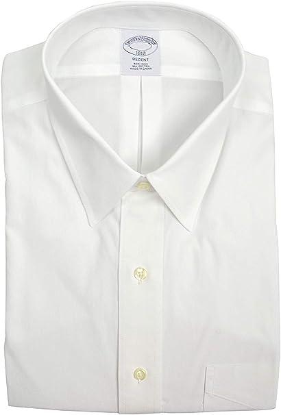 Brooks Brothers Regent Fit - Camisa de vestir para hombre con bolsillos, no necesita planchado, color blanco - Blanco - 43 cm Cuello 81 cm/ 84 cm Manga: Amazon.es: Ropa y accesorios