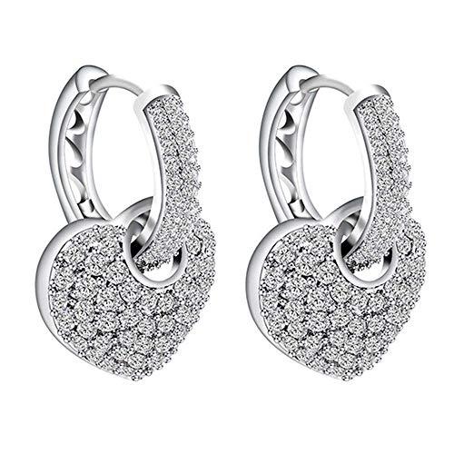 Onefeart Platinum Plated Stud Earrings For Women Girls Round Cubic Zirconia Heart Shape Graceful Design Hoop Earrings 16.8X26.8MM White Gold ()