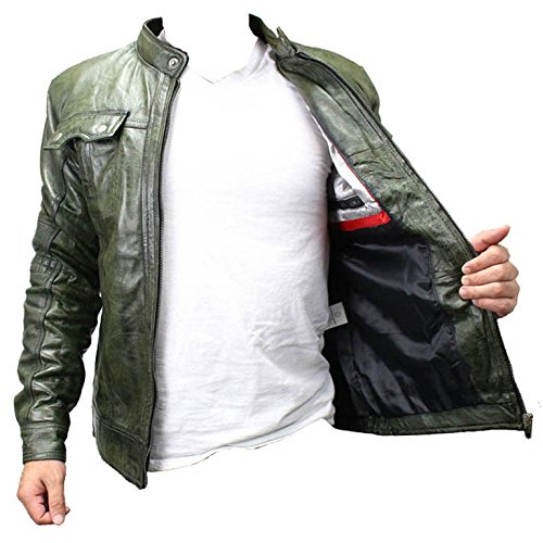 Perrini New Mens Genuine Sheep Skin Leather Fashion Jacket Green 2 buttoned chest Pocket (L) by PERRINI (Image #1)