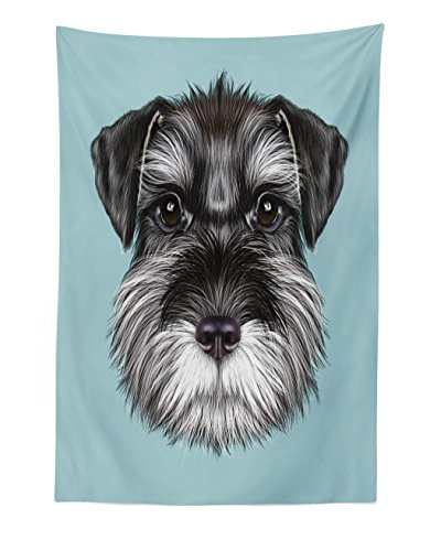Lunarable Animal Tapestry, Illustration of a Cute Baby Schnauzer on Blue Background Puppy Portrait, Fabric Wall Hanging Decor for Bedroom Living Room Dorm, 30 W X 45 L inches, Pale Blue Black White
