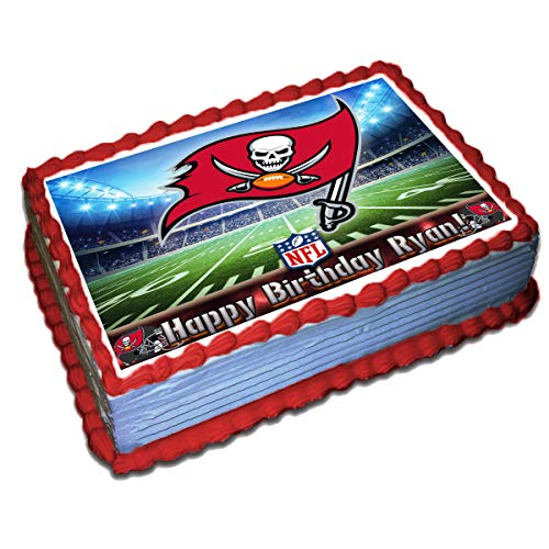 Tampa Bay Buccaneers NFL Personalized Cake Topper Icing Sugar Paper 8.5 x 11.5 Inches Sheet Edible Frosting Photo Birthday Cake Topper (Best Quality Printing) ()