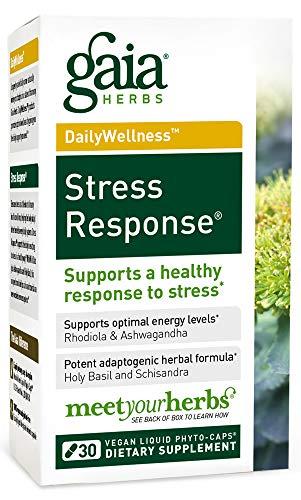 Gaia Herbs Stress Response, Vegan Liquid Capsules, 30 Count (Pack of 2) - Natural Stress Relief & Adrenal Fatigue Supplement, Calming Adaptogen Formula with Rhodiola, Ashwagandha, Holy Basil ()