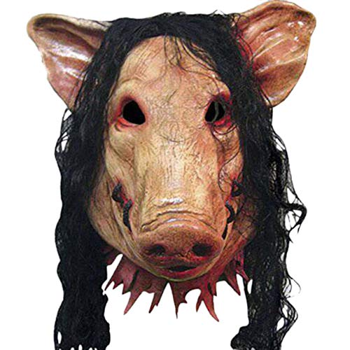 Caveira No Halloween (ZAPDAZ Halloween Scary Masks Novelty Pig Head Horror with Hair Masks Caveira Cosplay Costume Realistic Latex Festival Supplies)