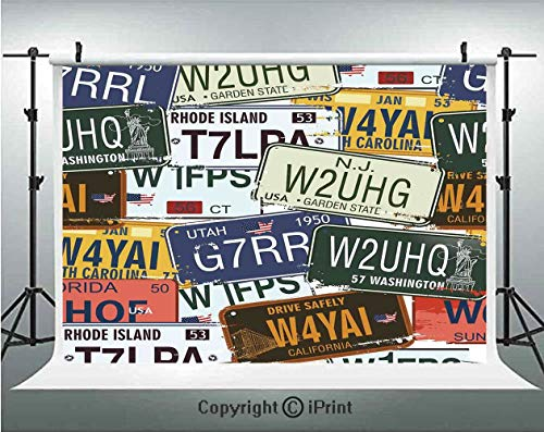 (Vintage Decor Photography Backdrops Original Retro License Plates Creative Travel Collections Art Decorative,Birthday Party Background Customized Microfiber Photo Studio Props,7x5ft,Green Blue Yellow)