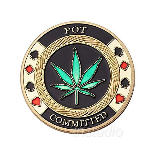 nouler Poker Chips Commemorative Coins Lucky Four-Leaf Clover Badge Gift Gold-Plated,Chip Coin,One Size
