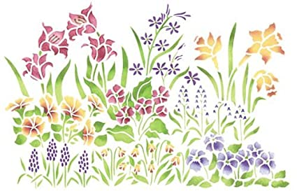 Amazon Com Designer Stencils Large Mixed Flower Garden Wall Stencil