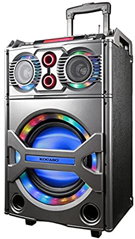 GPCT [Portable] Standing Rainbow LED Bluetooth PA [Heavy Bass] Speaker W/ Built-In [10 Inch Woofer] USB/SD Card/FM Radio Function, Party Speaker Lights- Karaoke/Home/Outdoor W/ Luggage Handle/Wheels