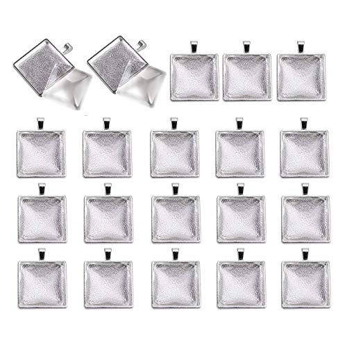 Miraclekoo 20 Set Square Bezel Pendant Trays with Glass Dome Tiles Cabochon 25 mm Blanks Cameo Bezel Cabochon Settings,Simple Edge (25 Mm Square Bezel)