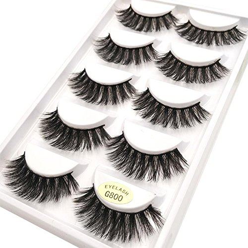 Scala 5 Pairs 3D Handmade Cotton Stalk Water Mink Cross Messy Mink Eye Lashes False Eyelashes 6 Styles to Choose (G800)