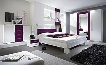 Gut Schlafzimmer Komplett 54018 4 Teilig Weiß / Lila