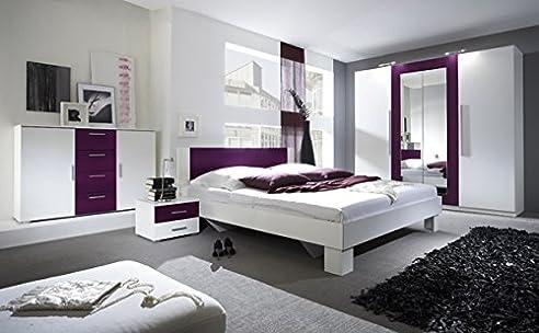 Schlafzimmer Komplett 54018 4-Teilig Weiß / Lila: Amazon.De: Küche