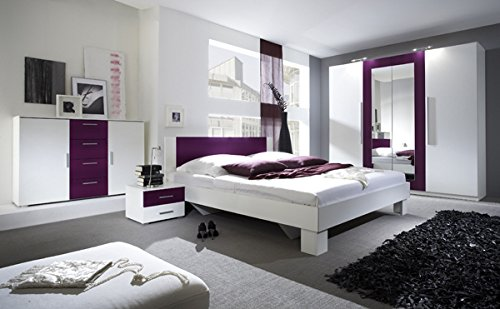 schlafzimmer komplett 54018 4-teilig weiß / lila: amazon.de: küche ... - Schlafzimmer Weis Violett