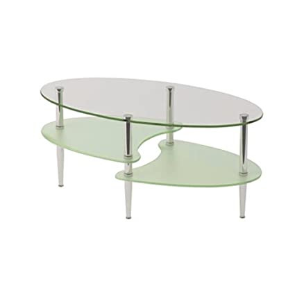 Small Oval Coffee Table Tempered Clear And Frosted Glass For Living Room  Contemporary Shape Modern Style