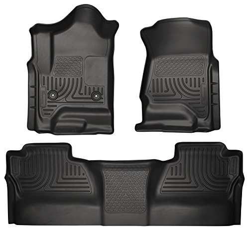 Husky Liners Front & 2nd Seat Floor Liners Fits 14-17 Silverado/Sierra Crew Cab - Weatherbeater by Husky Liners
