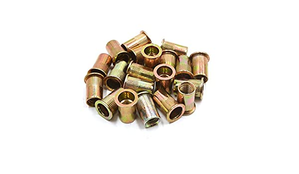 uxcell 20Pcs 1//2-13 UNC Car Flat Head Rivet Nut Insert Bronze Tone