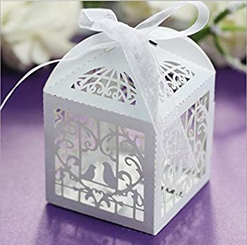 Amazon.com: CNMEIJIAYING 50pcs Laser Cut Wedding Sweets Love Bird ...