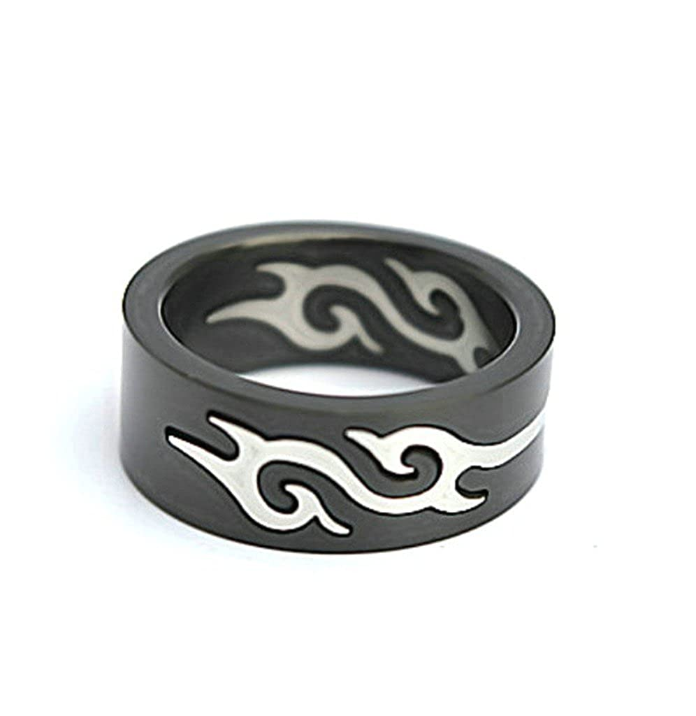 AMDXD Jewelry Titanium Men Punk Rings Black Fire Flame Removable Rings 0.8cm