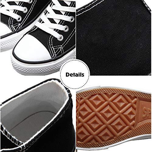 Sneakers Unisex Femminile Adolescenti Alto Passeggio Donna Amante A Collo Di Da Scarpe Traspirante Casuale Vulcanizzato Sneaker Tela Black01 Uomo BBx05Tq