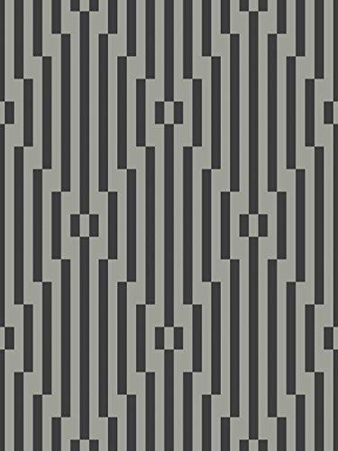 - Wallpaper Designer Metallic Silver and Black Large Stripe Diamond Geometric