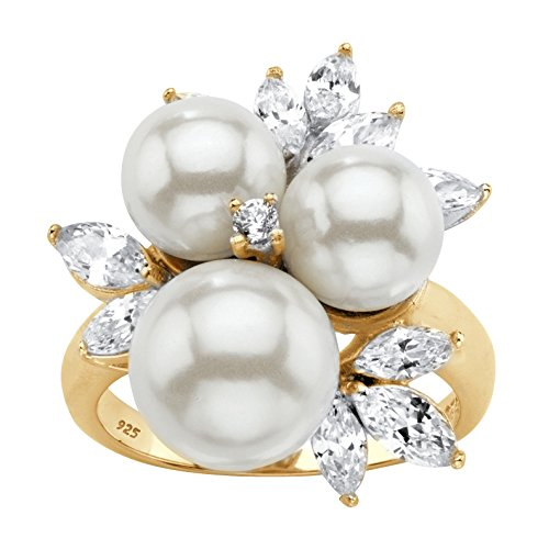 14K Yellow Gold over Sterling Silver Round Simulated Pearl and Cubic Zirconia Cluster Ring Size 10