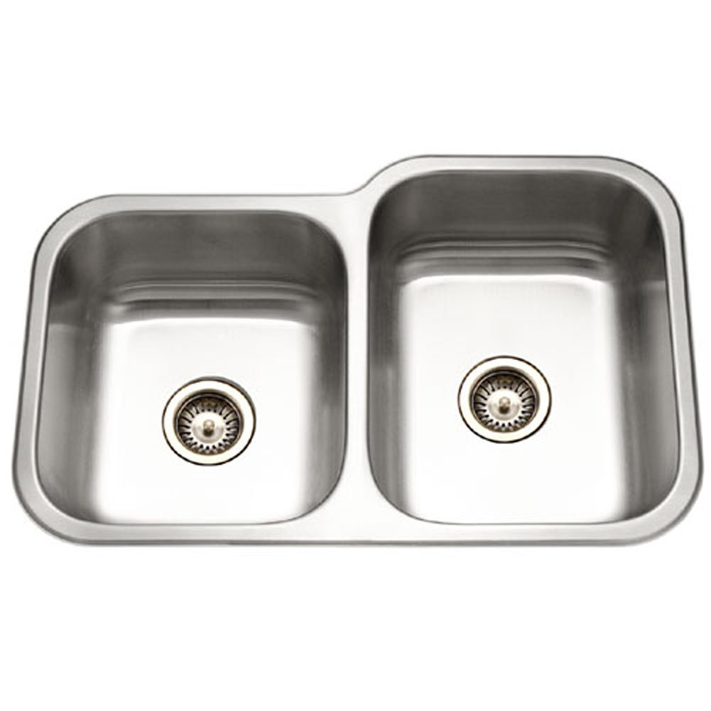 Houzer EC-3208SL-1 Elite Series Undermount Stainless Steel 60 40 Double Bowl Kitchen Sink, Small bowl left