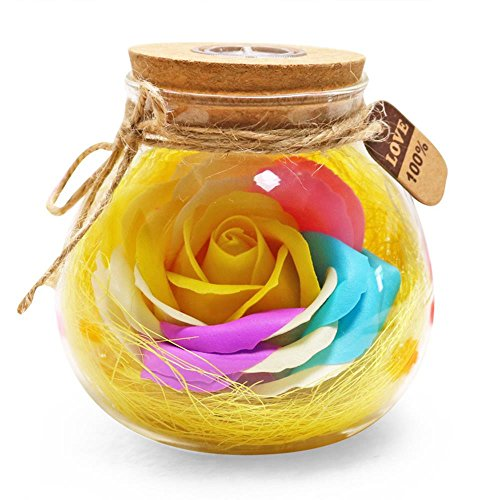 ZHD Mother's Day, Valentine's Day, Creative Gifts, Colorful, Immortal Flowers, soap, Roses, Wishing Bottles, Birthday Gifts. (Yellow)
