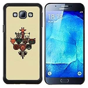 Zoo animal lindo cartel Marrón Beige lindo- Metal de aluminio y de plástico duro Caja del teléfono - Negro - Samsung Galaxy A8 / SM-A800