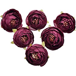 Pack of 10 Wedding Favor Flower Head Artificial 1.5 Inch Silk Rose Heads for Bridal Shower Decorations Replacement for Flowers Bouquet - Vintage Burgundy