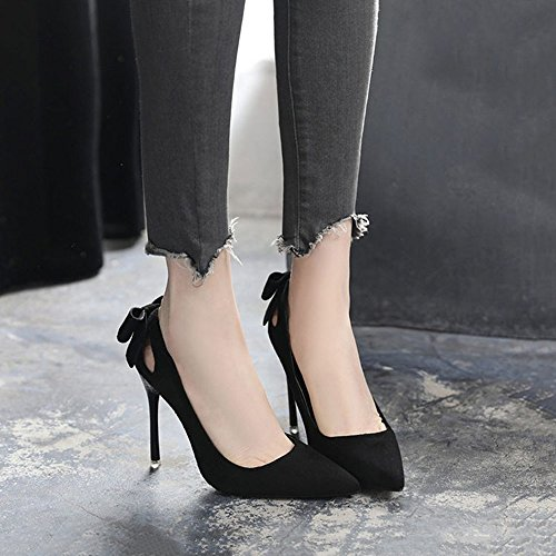 tacón Verano Wild Zapatos Gris LHA Nightclub Color zapatos Femeninos de CN35 solteros alto Negro Tamaño Zapatos con alto UK3 tacón Negro de 5 Zapatos fina EU36 Nuevos Negro Primavera punta w1w0qHEx