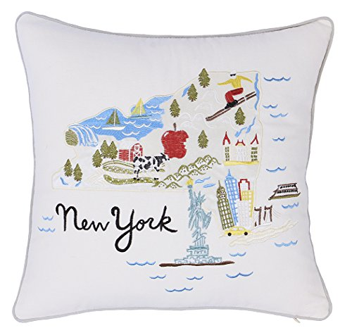 DecorHouzz Pillow Covers Newyork State/City Map Pillowcase embroidered cushion cover Birthday Gift Anniversary Gift Graduation Gift New home Gift 18