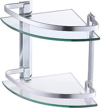 Kes Aluminum Glass Shelf Bathroom Bath Corner Shelf Basket Storage Hanging Organizer With Extra Thick Tempered Glass Contemporary Style Wall Mount 2 Tier A4120b Amazon Com