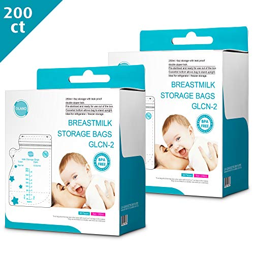 Cheapest Price! GLAND Breast Milk Storage Bags Easy Pour Spout 200 Count, Pre-Sterilized BPA Free Re...