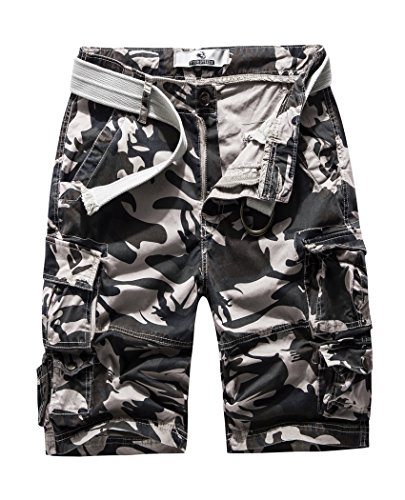 FOURSTEEDS Womens Casual Loose Fit Multi-Pockets Camouflage Twill Bermuda Cargo Shorts with Belt
