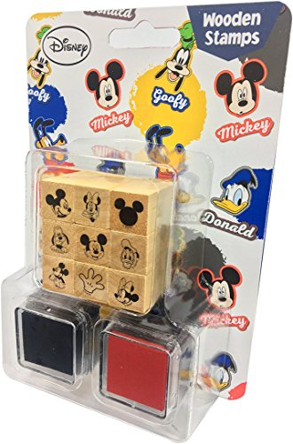 Disney Decorative Wooden Rubber Stamp and Ink Set 9pcs (Mickey) - Mickey Stamps