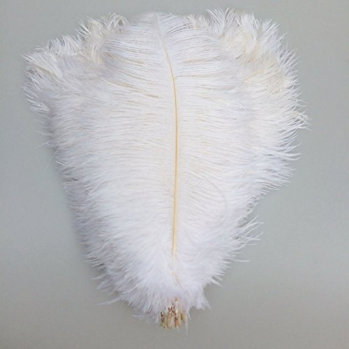 MELADY Pack of 100pcs Natural Ostrich Feathers 16-18inch(40~45cm) for Home Wedding Party Decoration (white) by MELADY