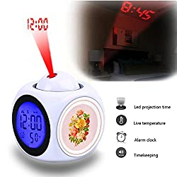 Projection Alarm Clock Wake Up Bedroom with Data and Temperature Display Talking Function, LED Wall/Ceiling Projection,Customize the pattern-734.Roses, Vintage, Sticker, Flowers, Bunch